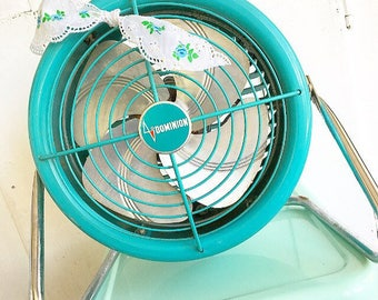 I'm So Cool... Vintage Turquoise Dominion Electric Fan Industrial Table Top Fan Mid Century Modern Retro Farmhouse