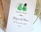 Perfect Pear Card, Wedding Cards, Just Married Card, Wedding Congratulations, Wedding Card UK, Bride and Groom Gifts, Wedding Gifts
