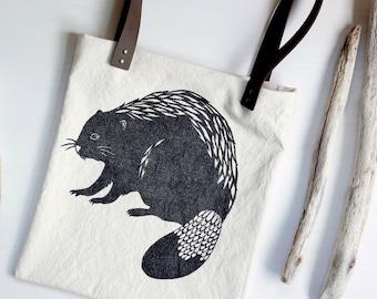 Beaver Bag, Leather Straps Canvas Tote, Block Print, Linocut, Shoulder Bag, Book Bag, Cute Woodland Design, Oregon State, Purse, Market Bag