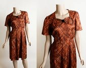 Vintage 1960s Dress - Autumn Rust Evening Cocktail Party Dress - Large Velvet Bow - Brown Red Cross Hatch Print - Medium