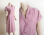 Vintage 1940s Dress - Lavender Cotton Scallop Shoulder Button Details Dress - Pockets - Medium Small