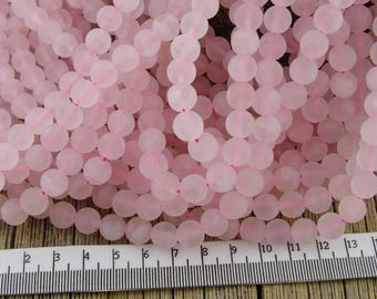 Frosted Rose Quartz Beads, 8mm Rose QUARTZ Beads, Matte Rose Quartz Beads, Pink Beads, Round Beads, 8 mm Pink Beads, Pastel Pink Beads