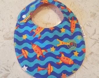 Spaceships Baby Toddler Boy Bib, Michael Miller Designer Fabric, everyday eating
