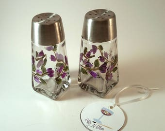 Hand Painted Glass Salt and Pepper Shakers With Purple Floral Vine Pattern
