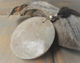 Leather Pendant Necklace Sterling  Silver Stone Marble Coin Pendant Necklace Item No. 3610