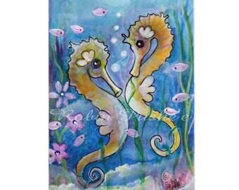 ACEO, Original, colorful , Sea horse pair