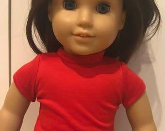18 inch 15 inch doll shirt, American Doll, Girl doll, tee shirt, doll t-shirt, matching shirt, Red doll shirt