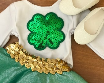 American Doll St. Patrick's Day 3 Piece set, Clover Glitter Leotard, Green tulle tutu, White Glitter Doll Shoes, Girl Doll ballet flats RTS