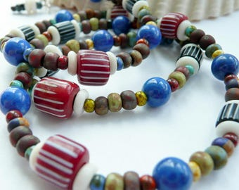 Artisan RARE Vintage Venetian African Trade Beads Lapis Picasso Czech Glass Sterling Silver OOAK Unisex Funky Tribal Boho Western Necklace