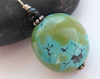 Hubei Turquoise Onyx Sterling Silver Charm Pendant Southwestern Western Style Charm Blue Green Black Silver Round Turquoise Charm Gift