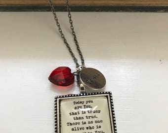 Today you are you Dr. Seuss inspired pendant necklace