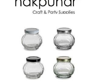 1 pc 8 oz Faceted Glass Jar
