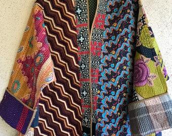 Reversible vintage kantha quilt plus size coat