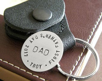 Custom Golf Marker with Leather Keychain Holder (Optional) - Personalized Hand Stamped Sterling Silver Token - Great for First Father's Day
