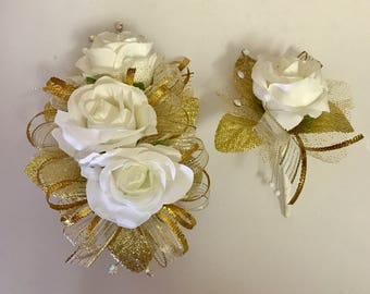 Golden Rose Corsage and Boutonnière