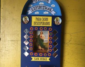 Saint Judas Votive Nicho, Mexican Nicho Wall Art, San Judas Altar Shrine