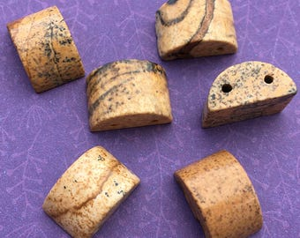 6 Picture Jasper Beads, Two Hole, Half Round, about 10mm X 14mm with 1.25mm holes - LT1