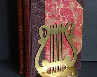 RESERVED Brass Lyre Harp Bookend