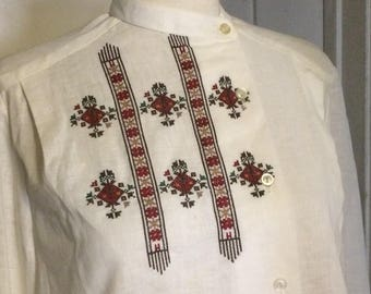 Vintage Embroidered Linen Peasant Blouse, Shirt, Cossack Style