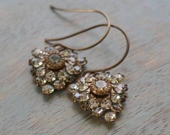 Crystal Heart Estate Earrings, Old Hollywood Earrings, Crystal Antiqued Brass Vintage Bride, Vintage Wedding Bridesmaid Jewelry Gift for Her