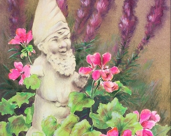 "Original Painting - Garden Gnome - Watercolor and Colored Pencil 18""x13"" Double Mat Included - Wall Art - Pink Geramiums - Purple Liatris"