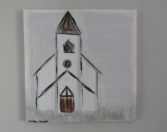 Gratitude Steeple Church Painting - 12 x 12