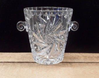 Lead Crystal Ice bucket with handles Hand cut lead crystal