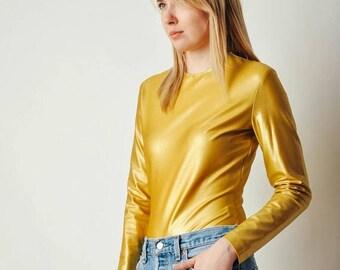 ON SALE Vintage Donna Karan Gold Bodysuit