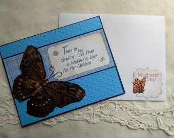 Handmade Mother's Day Card: complete card, handmade, balsampondsdesign, butterfly, blue, greeting card, card, love