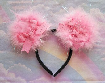 Minnie Mouse ears, pink boudoir disneybound marabou feather boa Hollywood glamour powder puff iridescent kawaii