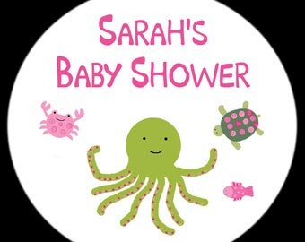 """Personalized Round Stickers - Under The Sea -PINKS - Baby Shower  - FOUR Sizes Available (2.5"""",2"""",1.5"""",1"""")"""
