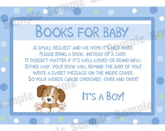 24 Books For Baby Insert Cards -  Baby Shower Cards - Bring a Book Instead of a Card -  Puppy Dog Baby Shower