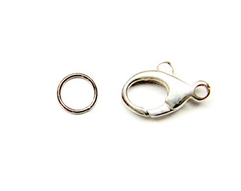 14mm OVAL LOBSTER Clasp with 6mm Jump Ring 925 Sterling Silver