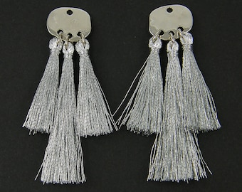 Silver Tassel Earring Findings, Silver Fringe Earring Dangles Jewelry Component |S18-12|2