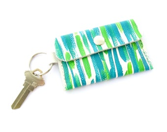 Key Ring Wallet, Credit Card Holder, Hand Painted Leather, Artisan Gift, Tropical Wallet on a Key Ring, Artisan Fashion, Gifts Under 30