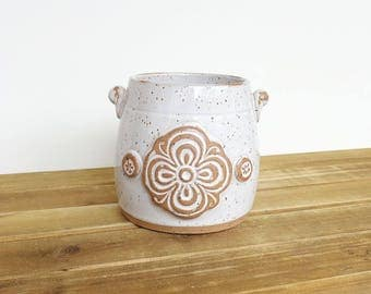 Stoneware Utensil Holder in Glossy White Glaze, Rustic Speckled, Kitchen, Handmade Pottery, Hand Stamped Ceramics
