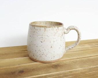 Pottery Mug, Stoneware Coffee Cup in Satin Oatmeal Glaze