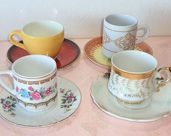 Mismatched Demitasse 4 Cup and Saucer Sets Espresso Small Tiny Cups Mixed Porcelain China Japan Germany Floral Luster Gold