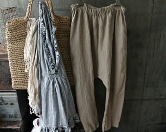 Linen Drop Crotch Pants