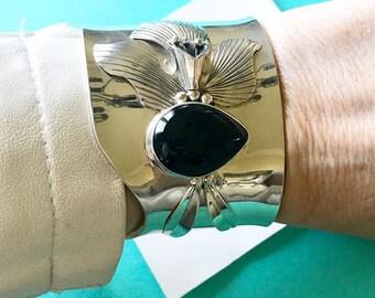 Carol Felley Wide Sterling Silver & Onyx Orchid Flower Cuff Bracelet