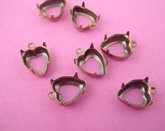 12 antique brass ox Heart Prong Settings 10mm 1 Ring open Backs charms