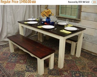 """ON SALE Farmhouse Table Set 68""""x32""""x30""""H with 2 benches (56"""" x 15"""" x 17""""H)"""
