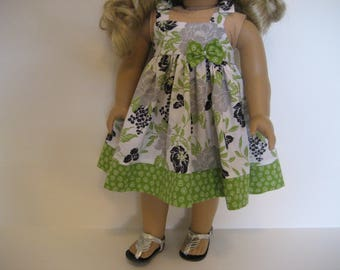 18 Inch Doll Clothes - Lime and Gray Floral Dress made to fit dolls such as the American Girl doll clothes
