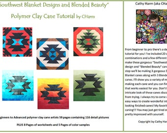 Southwest Blanket Designs and Blended Beauty polymer clay cane tutorial by CHarm