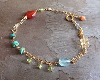 14kt Gold Aquamarine Bracelet - Carnelian Bracelet - Turquoise Bracelet - Peridot Bracelet - Multi Color Bracelet - Dainty Gold Bracelet
