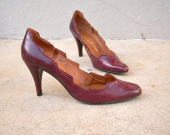 30% MOVING SALE 70s 80s heels / Charles Jordan Paris, designer stilettos / burgundy oxblood leather spiked heels approx size 7