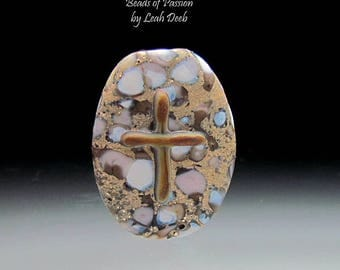 Handmade Glass Focal Bead SRA Lampwork - Earthy Old Rugged Cross