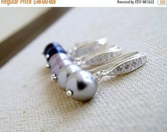 Summer Sale Swarovski Earrings CZ Grey Pearl Sterling Silver BE14