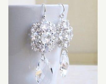 Summer Sale Ivanka Trump Swarovski Crystal Teardrop CZ Sterling Chandelier Earrings IE5SWC