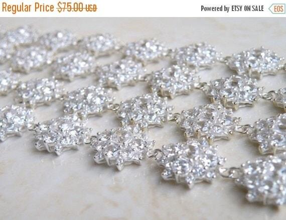 Summer Sale Bridal Bracelet Cushion Cubic Zirconia Sterling Silver IB1